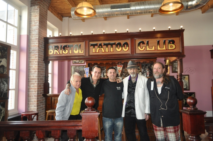 F.l.t.r.: Dennis Cockell, me, Jimmie Skuse, Bill and Henk at the Amsterdam Tattoo Museum